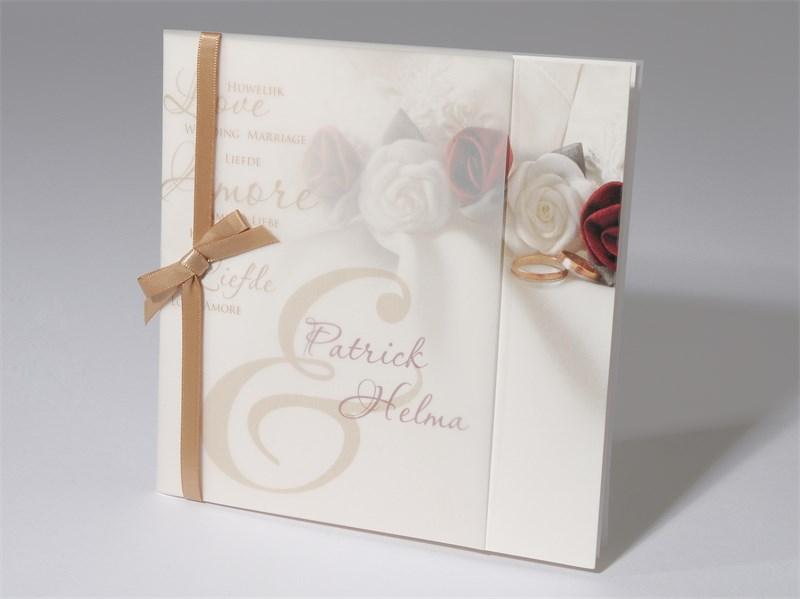 48 1521 Hochzeitskarte Rote Weisse Rosen Ringe Text Liebe Love