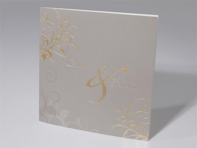 48 1452 Hochzeitskarte Karton Beige Braun Zeichen Und Ornamente