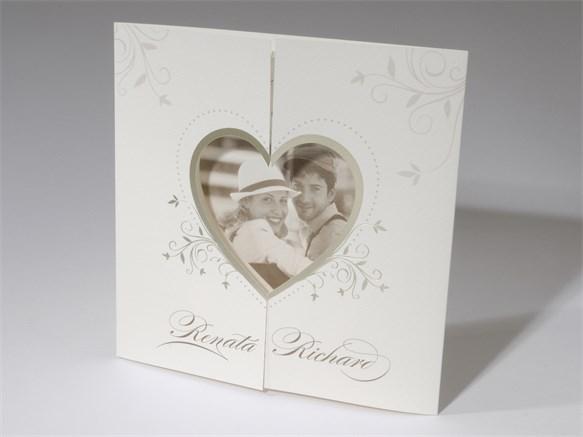 60 1520 Foto Hochzeitskarte Barock Stanz Herz Foliendruck