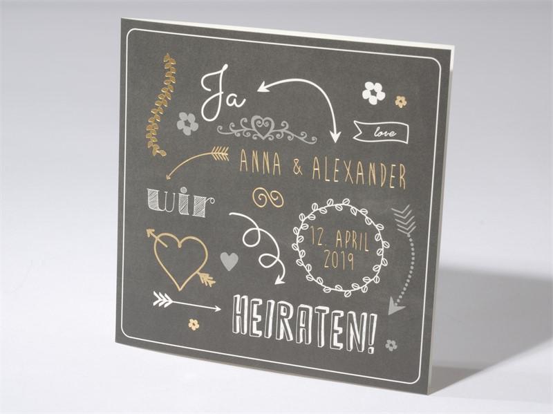 65 2 1667 Hochzeitskarte Typographie Gold Folien Hochzeitskarten